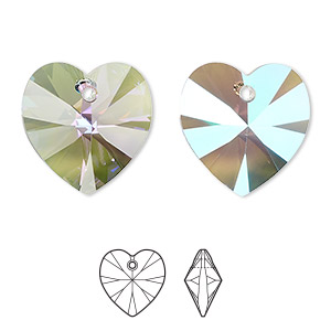 drop, swarovski crystals, crystal paradise shine, 18x18mm xilion heart pendant (6228). sold per pkg of 72.