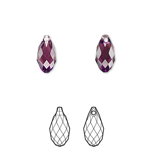 drop, swarovski crystals, crystal passions, amethyst, 11x5.5mm faceted briolette pendant (6010). sold per pkg of 24.