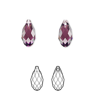 drop, swarovski crystals, crystal passions, amethyst, 13x6.5mm faceted briolette pendant (6010). sold per pkg of 24.