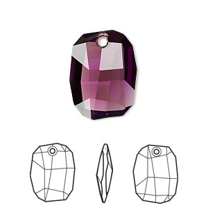 drop, swarovski crystals, crystal passions, amethyst, 19x14mm faceted graphic pendant (6685). sold per pkg of 6.