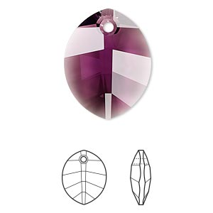 drop, swarovski crystals, crystal passions, amethyst, 23x18mm faceted pure leaf pendant (6734). sold per pkg of 6.