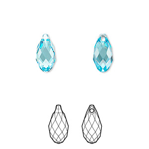 drop, swarovski crystals, crystal passions, aquamarine, 11x5.5mm faceted briolette pendant (6010). sold per pkg of 24.