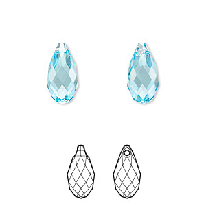 drop, swarovski crystals, crystal passions, aquamarine, 13x6.5mm faceted briolette pendant (6010). sold per pkg of 24.
