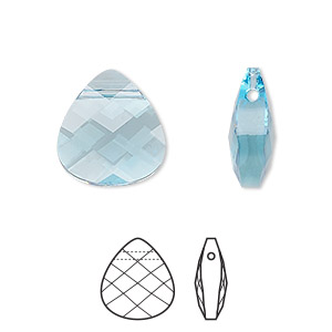 drop, swarovski crystals, crystal passions, aquamarine, 15x14mm faceted puffed briolette pendant (6012). sold per pkg of 24.