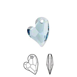 drop, swarovski crystals, crystal passions, aquamarine, 17x13mm faceted devoted 2 u heart pendant (6261). sold individually.