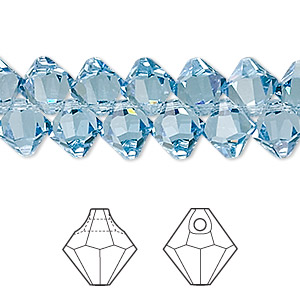drop, swarovski crystals, crystal passions, aquamarine, 8mm faceted bicone pendant (6301). sold per pkg of 12.