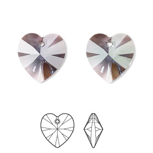 drop, swarovski crystals, crystal passions, aquamarine antique pink, 14mm xilion heart (6228). sold individually.