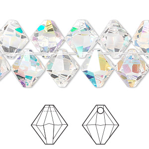 drop, swarovski crystals, crystal passions, crystal ab, 10mm faceted bicone pendant (6301). sold per pkg of 2.