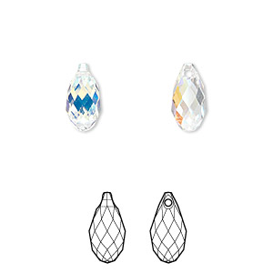 drop, swarovski crystals, crystal passions, crystal ab, 11x5.5mm faceted briolette pendant (6010). sold per pkg of 24.