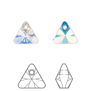 drop, swarovski crystals, crystal passions, crystal ab, 12mm xilion triangle pendant (6628). sold per pkg of 12.