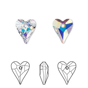 drop, swarovski crystals, crystal passions, crystal ab, 12x10mm faceted wild heart pendant (6240). sold per pkg of 18.