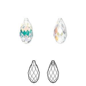 drop, swarovski crystals, crystal passions, crystal ab, 13x6.5mm faceted briolette pendant (6010). sold per pkg of 24.