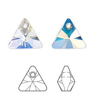 drop, swarovski crystals, crystal passions, crystal ab, 16mm xilion triangle pendant (6628). sold per pkg of 6.