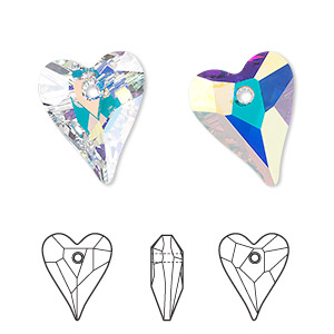 drop, swarovski crystals, crystal passions, crystal ab, 17x14mm faceted wild heart pendant (6240). sold individually.