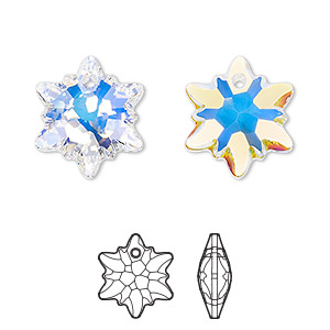 drop, swarovski crystals, crystal passions, crystal ab, 18mm faceted edelweiss pendant (6748). sold individually.
