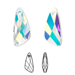 drop, swarovski crystals, crystal passions, crystal ab, 23x10mm faceted wing pendant (6690). sold per pkg of 6.
