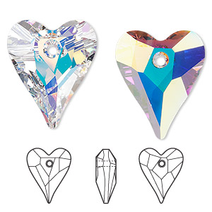 drop, swarovski crystals, crystal passions, crystal ab, 27x22mm faceted wild heart pendant (6240). sold per pkg of 6.