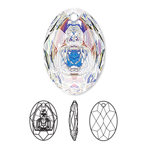 drop, swarovski crystals, crystal passions, crystal ab, 28x19.8mm faceted buddha pendant (6871). sold individually.