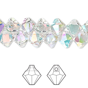 drop, swarovski crystals, crystal passions, crystal ab, 8mm faceted bicone pendant (6301). sold per pkg of 12.