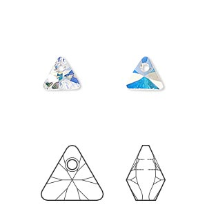drop, swarovski crystals, crystal passions, crystal ab, 8mm xilion triangle pendant (6628). sold per pkg of 6.