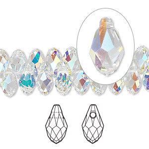 drop, swarovski crystals, crystal passions, crystal ab, 9x5mm faceted briolette pendant (6007). sold per pkg of 48.