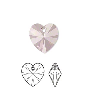 drop, swarovski crystals, crystal passions, crystal antique pink, 14x14mm xilion heart pendant (6228). sold individually.