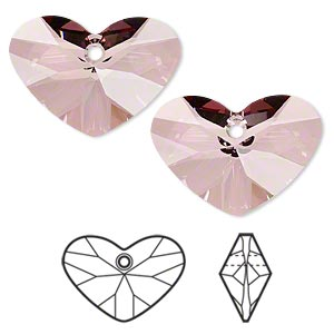 drop, swarovski crystals, crystal passions, crystal antique pink, 27x19mm faceted crazy 4 u heart pendant (6260). sold per pkg of 4.