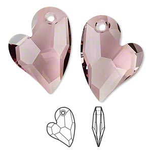 drop, swarovski crystals, crystal passions, crystal antique pink, 27x20mm faceted devoted 2 u heart pendant (6261). sold per pkg of 4.