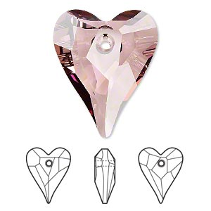 drop, swarovski crystals, crystal passions, crystal antique pink, 27x22mm faceted wild heart pendant (6240). sold per pkg of 6.