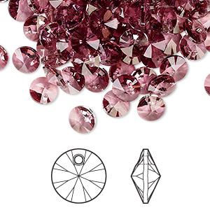 drop, swarovski crystals, crystal passions, crystal antique pink, 6mm xilion rivoli pendant (6428). sold per pkg of 144 (1 gross).