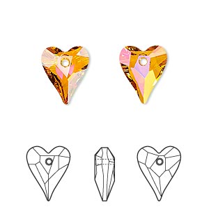 drop, swarovski crystals, crystal passions, crystal astral pink, 12x10mm faceted wild heart pendant (6240). sold per pkg of 2.