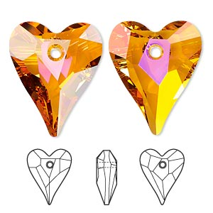 drop, swarovski crystals, crystal passions, crystal astral pink, 27x22mm faceted wild heart pendant (6240). sold per pkg of 6.