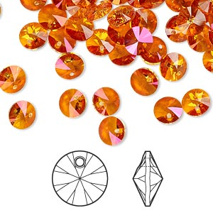 drop, swarovski crystals, crystal passions, crystal astral pink, 6mm xilion rivoli pendant (6428). sold per pkg of 144 (1 gross).