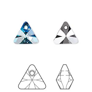 drop, swarovski crystals, crystal passions, crystal bermuda blue p, 12mm xilion triangle pendant (6628). sold per pkg of 2.