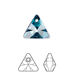 drop, swarovski crystals, crystal passions, crystal bermuda blue p, 16mm xilion triangle pendant (6628). sold individually.