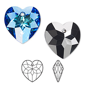 drop, swarovski crystals, crystal passions, crystal bermuda blue p, 18x17mm faceted heart pendant (6215). sold per pkg of 24.