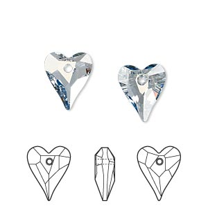 drop, swarovski crystals, crystal passions, crystal blue shade, 12x10mm faceted wild heart pendant (6240). sold per pkg of 18.