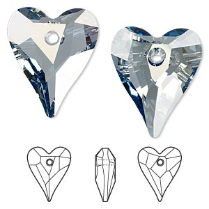 drop, swarovski crystals, crystal passions, crystal blue shade, 27x22mm faceted wild heart pendant (6240). sold individually.