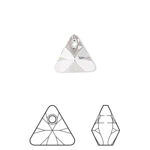 drop, swarovski crystals, crystal passions, crystal clear, 12mm xilion triangle pendant (6628). sold per pkg of 2.