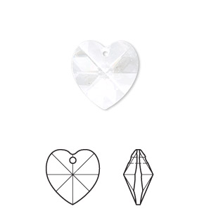 drop, swarovski crystals, crystal passions, crystal clear, 14x14mm xilion heart pendant (6228). sold per pkg of 24.