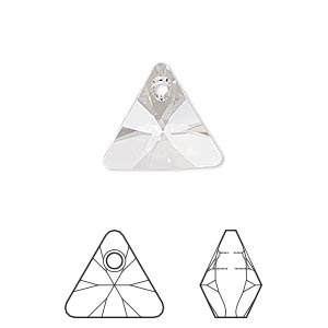 drop, swarovski crystals, crystal passions, crystal clear, 16mm xilion triangle pendant (6628). sold individually.