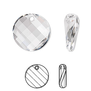 drop, swarovski crystals, crystal passions, crystal clear, 18mm faceted twist pendant (6621). sold individually.