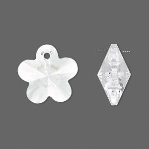 drop, swarovski crystals, crystal passions, crystal clear, 18x18mm faceted flower pendant (6744). sold per pkg of 2.