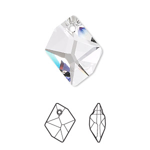 drop, swarovski crystals, crystal passions, crystal clear, 20x16mm faceted cosmic pendant (6680). sold per pkg of 24.