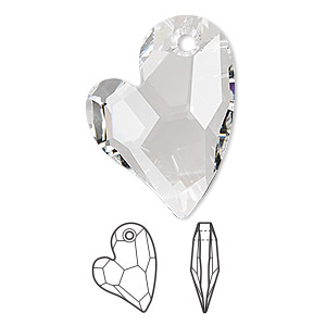 drop, swarovski crystals, crystal passions, crystal clear, 27x20mm faceted devoted 2 u heart pendant (6261). sold individually.