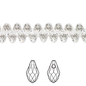 drop, swarovski crystals, crystal passions, crystal clear, 7x4mm faceted briolette pendant (6007). sold per pkg of 48.