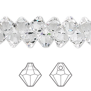 drop, swarovski crystals, crystal passions, crystal clear, 8mm faceted bicone pendant (6301). sold per pkg of 144 (1 gross).