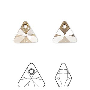 drop, swarovski crystals, crystal passions, crystal golden shadow, 12mm xilion triangle pendant (6628). sold per pkg of 12.