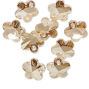 drop, swarovski crystals, crystal passions, crystal golden shadow, 12x12mm faceted flower pendant (6744). sold per pkg of 2.