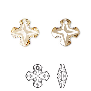 drop, swarovski crystals, crystal passions, crystal golden shadow, 14mm faceted greek cross pendant (6867). sold per pkg of 12.